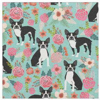 Boston Terrier florals fabric - cute fabric design