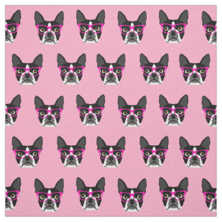 Boston Terrier Glasses - pink fabric