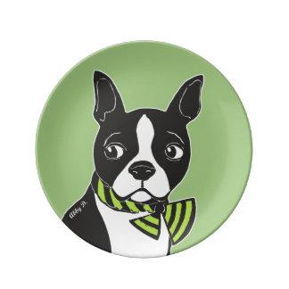 Boston Terrier Green Decorative Porcelain Plate
