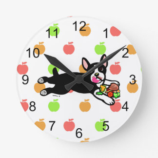 Boston Terrier Hamburger Kitchen Clock