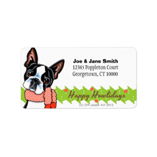 Boston Terrier Happy Howlidays Christmas Address Label