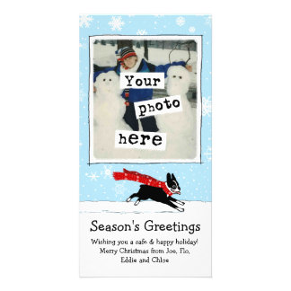Boston Terrier - Happy Winter Snow Dog Card