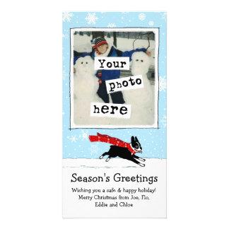Boston Terrier - Happy Winter Snow Dog Photo Cards