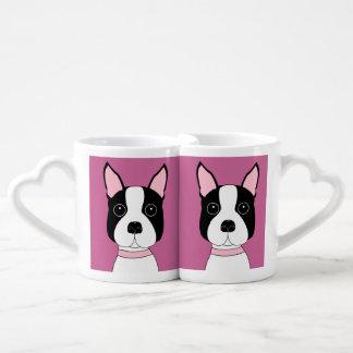 Boston Terrier Heart Handle Mugs Set Lovers Mug Sets