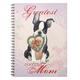 Boston Terrier Heart Mom Note Books