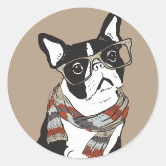 Boston Terrier, Hipster Animal, Hipster Dog Round Sticker