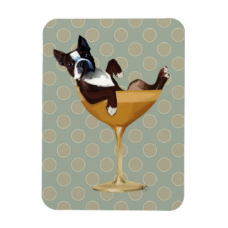 Boston Terrier in Cocktail Glass Rectangular Photo Magnet
