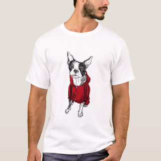 Boston Terrier in Red Tracksuit T-Shirt