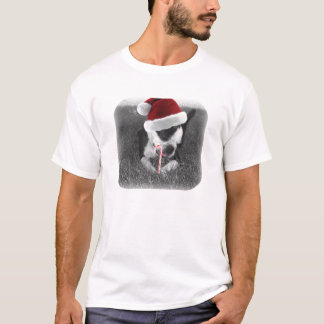 boston terrier in santa hat candy cane christmas T-Shirt