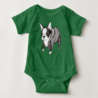 Boston Terrier in Tracksuit - Baby bodysuit