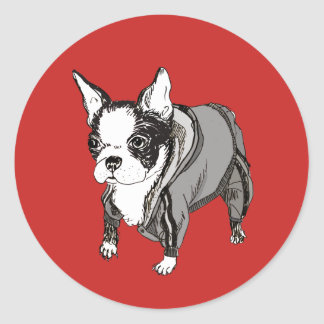 Boston Terrier in Tracksuit Sticker