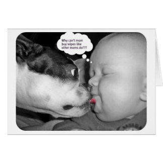 boston terrier kissing a baby card
