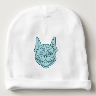 Boston Terrier Laughing Circle Mono Line Baby Beanie