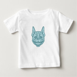 Boston Terrier Laughing Circle Mono Line Baby T-Shirt
