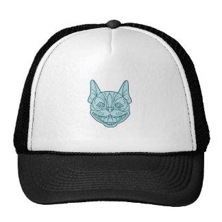 Boston Terrier Laughing Circle Mono Line Cap