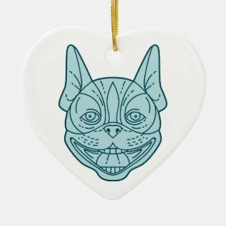 Boston Terrier Laughing Circle Mono Line Ceramic Heart Decoration