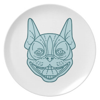 Boston Terrier Laughing Circle Mono Line Dinner Plate