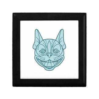 Boston Terrier Laughing Circle Mono Line Gift Box