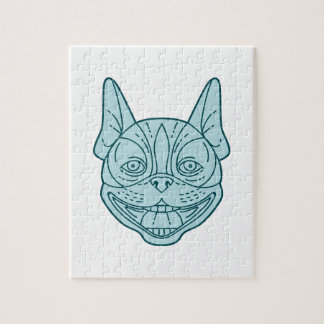 Boston Terrier Laughing Circle Mono Line Jigsaw Puzzle