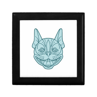 Boston Terrier Laughing Circle Mono Line Small Square Gift Box