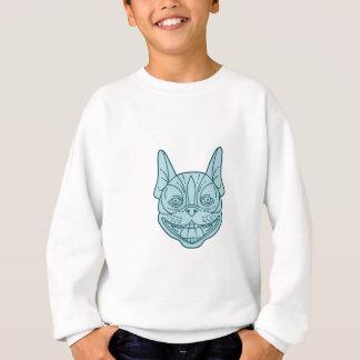 Boston Terrier Laughing Circle Mono Line Sweatshirt
