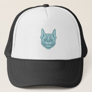 Boston Terrier Laughing Circle Mono Line Trucker Hat