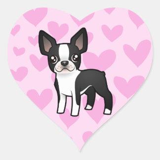 Boston Terrier Love Heart Sticker