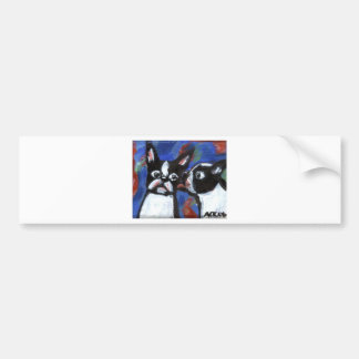 Boston Terrier love kiss painting Bumper Sticker