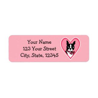 Boston Terrier Love Pink Return Address Labels