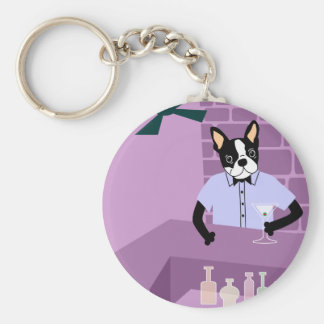 Boston Terrier Martini Bar Basic Round Button Key Ring