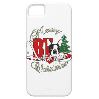 BOSTON TERRIER MERRY CHRISTMAS BARELY THERE iPhone 5 CASE