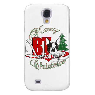 BOSTON TERRIER MERRY CHRISTMAS GALAXY S4 COVER