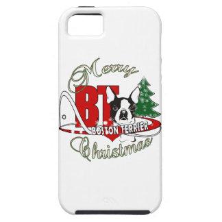 BOSTON TERRIER MERRY CHRISTMAS iPhone 5 CASE