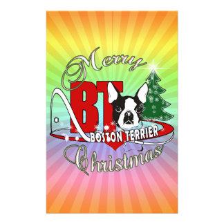 BOSTON TERRIER MERRY CHRISTMAS STATIONERY
