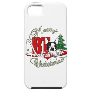 BOSTON TERRIER MERRY CHRISTMAS TOUGH iPhone 5 CASE
