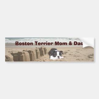 Boston Terrier Mom & Dad Bumper Sticker Sandcastle