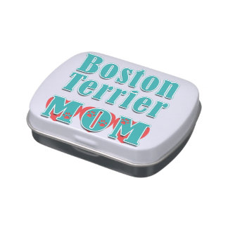 Boston Terrier Mom Hearts Jelly Belly Candy Tins