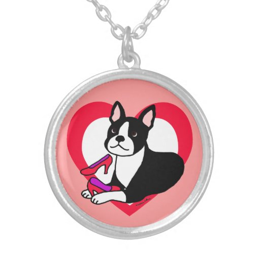Boston Terrier Mom & High Heels Cartoon Personalized Necklace