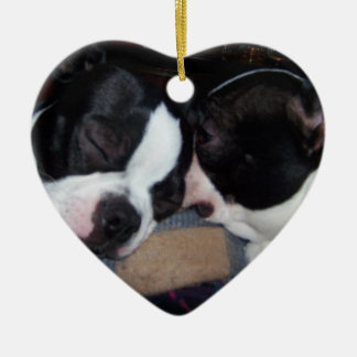 BOSTON TERRIER ORINAMENT CERAMIC ORNAMENT