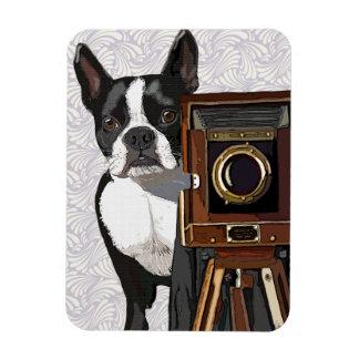 Boston Terrier Photographer 2 Rectangular Photo Magnet