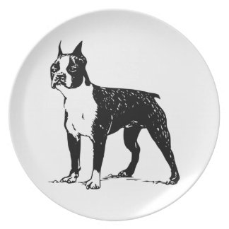 boston terrier plate