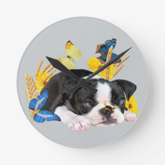 Boston Terrier Play Day Round Clock