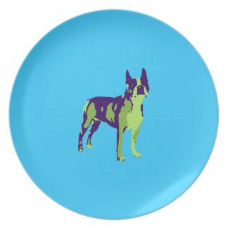 Boston Terrier Pop Art Plate