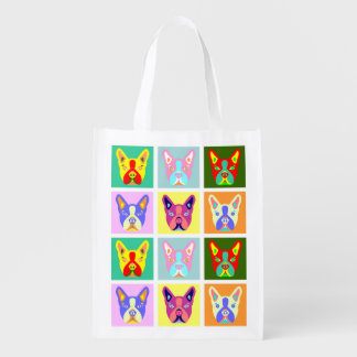 Boston Terrier Pop Art Reusable Grocery Bag