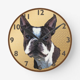 Boston Terrier Portrait Round Clock