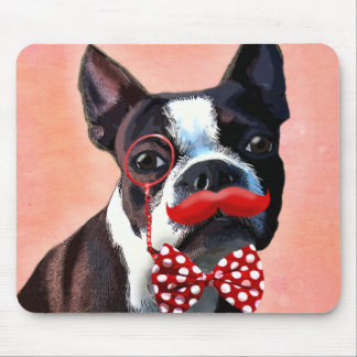 Boston Terrier Portrait with Red Bow Tie and 2 Mouse Pad