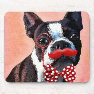 Boston Terrier Portrait with Red Bow Tie and 3 Mouse Pad