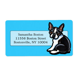 Boston Terrier Profile Studio Blue Shipping Label