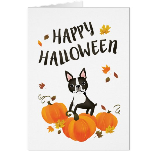 Boston Terrier Pumpkin Fall Leaves Halloween Card
