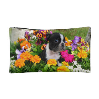 Boston Terrier puppy Cosmetics Bags
